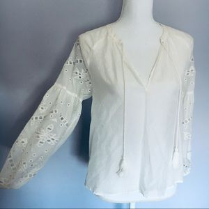 Greylin Embroidered White Peasant Top XS